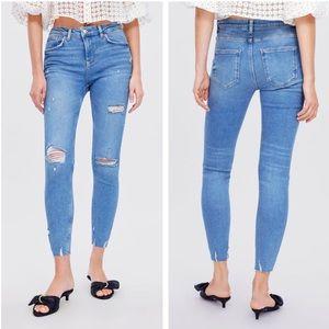 Zara High Waist Distressed Raw Hem Blue Jeans 4